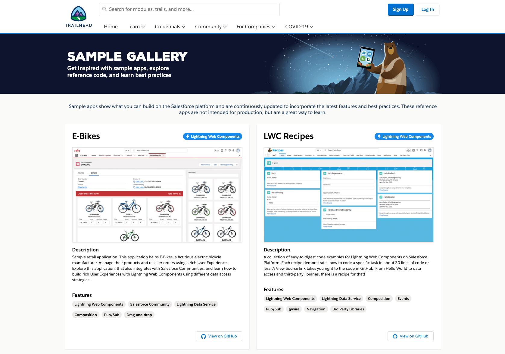 Salesforce sample gallery