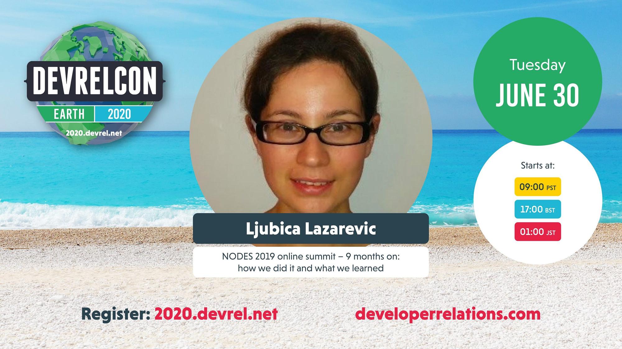 Ljubica Lazarevic speaking at DevRelCon Earth 2020